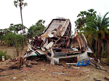 The wreckage of the bus blown up by Maoists in Dantewada