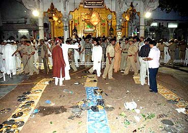 Security personnel at the site of the blast at Ajmer dargah