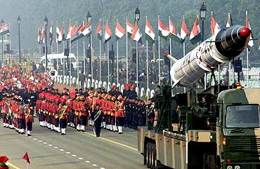 Indian soldiers roll out the Agni missile during rehearsals for the Republic Day parade