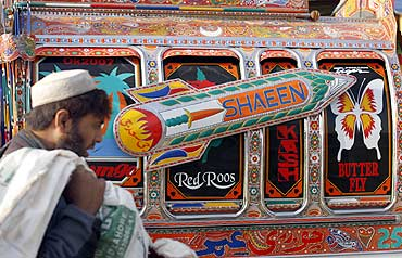 A vehicle decorated with an image of a nuclear-capable Shaheen missile in Rawalpindi