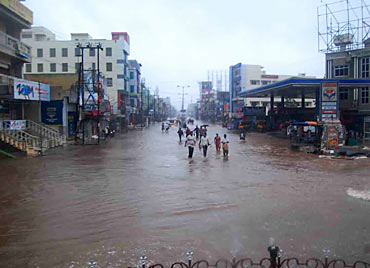 A flooded road in Ongole district in Andhra Pradesh