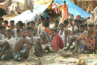 Tribals at a Salwa Judum camp in Dornapal, Chhattisgarh, in 2006