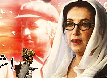 A man walks in front of a poster of Benazir Bhutto