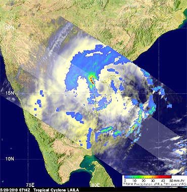 An image captured by TRMM of Laila's rainfall on May 20 at 3.14 am EDT. The red spots indicate heavy rainfall