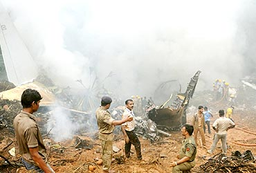 Rescue operations at the crash site