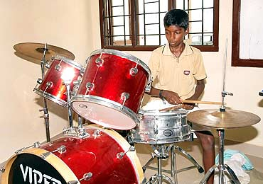 Santosh, with his drums