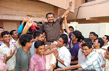 A jubilant Super 30 group with teacher Anand Kumar