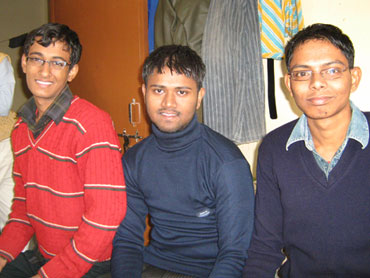From left: Shubham Kumar, A Kumar and Kanhaiya Kumar