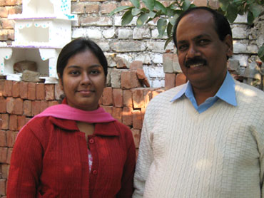 Namrata with her father Pramod Kumar Jaiswal