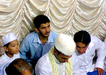 Sammad (in blue shirt) attending a wedding on the day of the Pune blast, according to the family
