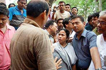 Railway Minister Mamata Banerjee at the accident site