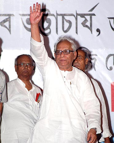 West Bengal Chief Minister i Buddhadeb Bhattacharjee during the civic polls campaigning