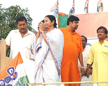 Mamata Banerjee during the campaigning.