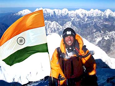 Arjun Vajpayi atop Mount Everest