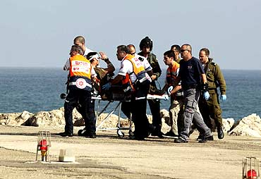 An injured Israeli soldier is evacuated to a hospital in Haifa after the incident