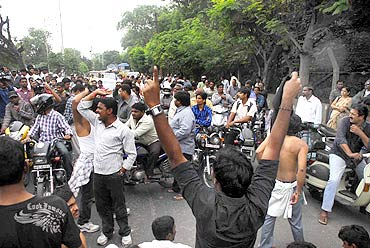 Pro-Telangana activists protest against Andhra Pradesh Formation Day in Hyderabad on Monday