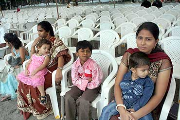 Empty chairs in the AP Foundation Day celebrations in Hyderabad on Monday