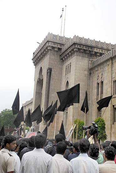 TRS activists and Osmania university students observe Black Day in Hyderabad on Monday