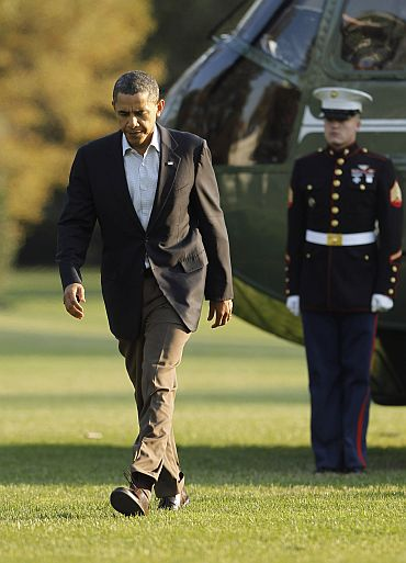 US President Obama returns to White House
