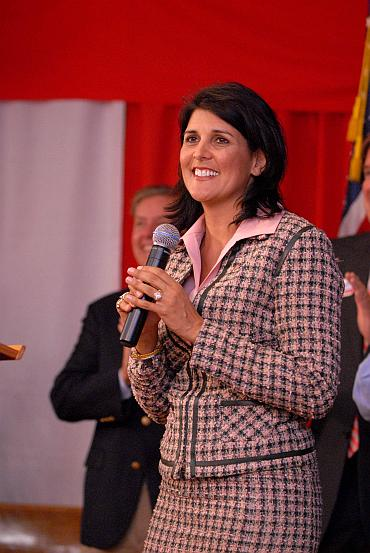 Nikki Haley speaks at her final campaign meeting in Lexington County, South Carolina
