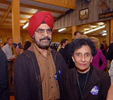 Nikki Haley's parents Dr Ajit and Raj Randhawa  at the event