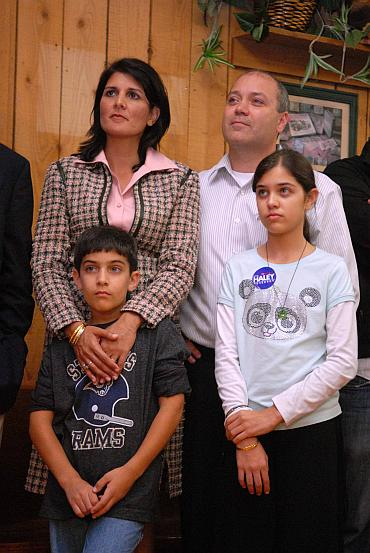 Nikki Haley with her husband Michael Haley and children Rena and Nalin