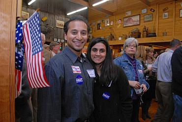 Republican leader Dino Teppara with his wife at Haley's final campaign event