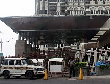 Police guard the Taj Hotel