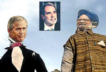 Effigies of then US President George W Bush and Prime Minister Manmohan Singh. Inset: Michael Krepon