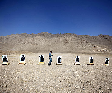 An Afghan police instructor at a training session in Kabul
