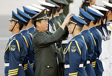 An honour guard at Beijing airport