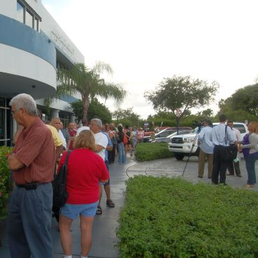 Early voters at a polling station in Miami