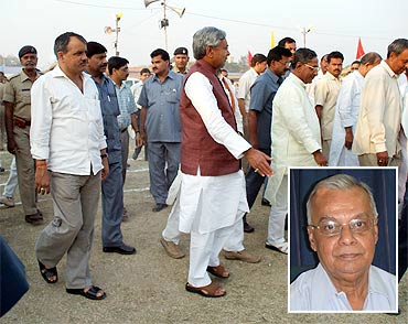 Nitish Kumar at an education fair in Patna; inset; Professor Prabhat Ghosh