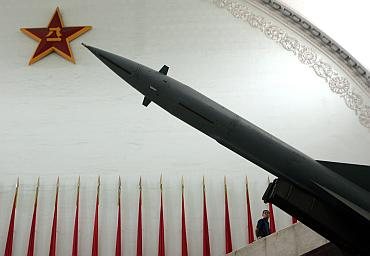 A Hongqi-2 missile on display in the hall of weapons at the Military Museum in Beijing