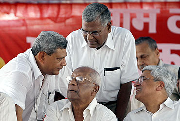 Communist leaders Sitaram Yechury, A B Bardhan, D Raja and Prakash Karat at a rally in New Delhi
