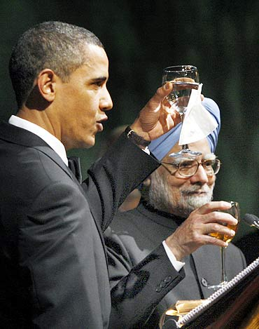 Obama and Dr Singh at the State dinner at the White House last November