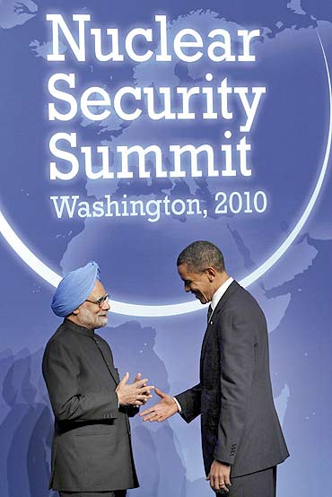 Dr Singh with Obama at the Nuclear Security Summit in Washington, DC