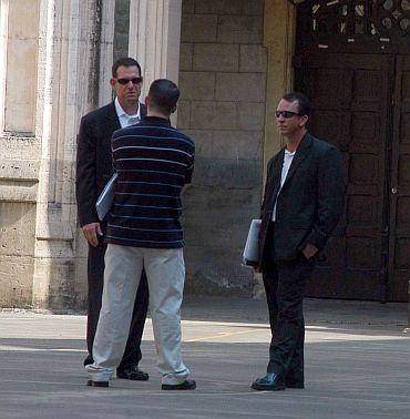 Secret Service officials inspecting a site