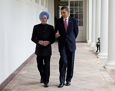 US President Barack Obama speaks to PM Dr Singh in Washington, DC