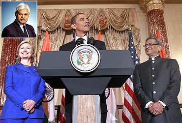 US President Barack Obama, flanked by Secretary of State Hillary Clinton and India's Foreign Minister S M Krishna; inset: Ashley Tellis