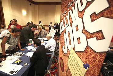 A job fair in the US. Obama's India visit could help him domestically