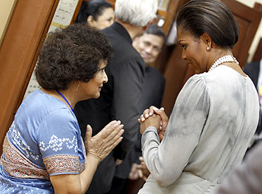 Michelle with Usha Thakkar, director of the Mani Bhavan Gandhi Museum