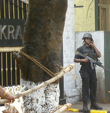 The scene outside INS Shikra