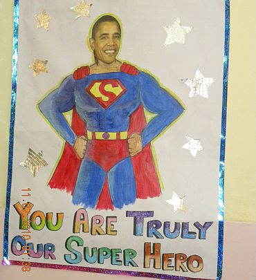 A poster depicting Obama as Superman