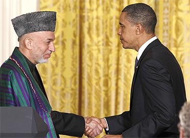 President Obama and Afghan President Hamid Karzai at the White House