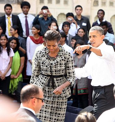 Barack and Michelle Obama exit St Xavier's College
