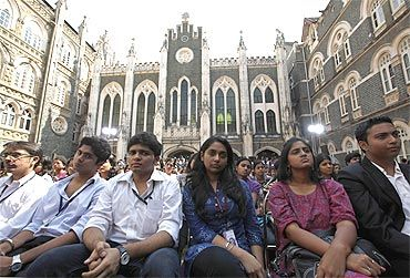 Students from various colleges in Mumbai gather to attend Obama's townhall meeting