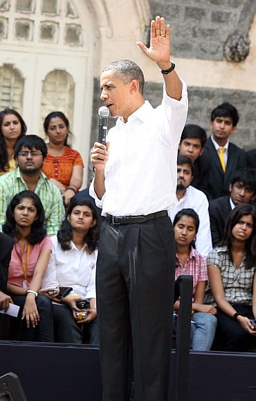 President Obama answers a student during the townhall