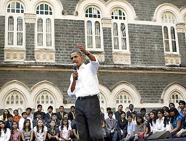 President Obama at the townhall meeting with students at St Xavier's College, Mumbai