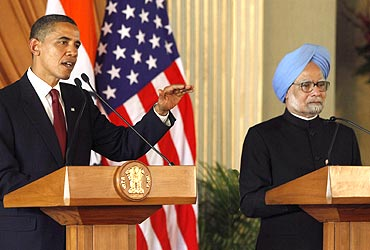 President Obama and PM Dr Singh at a joint news conference at Hyderabad House in New Delhi on Monday